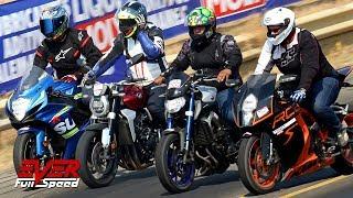 KTM RC8 v MT-09 v CB1000R v GSXS 1000 v GSXR 600 y más | 11 seg Motos | Copa Carnaval 2019 #Piques