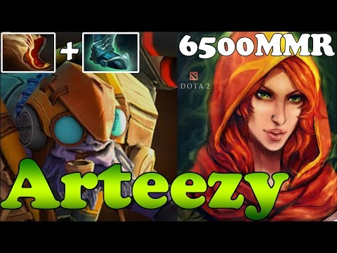 Dota 2 - Arteezy 6500 MMR Plays Tinker with Travel and Guardian Guardian Greaves bots and WindRanger