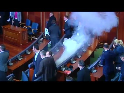 Kosovo opposition releases tear gas in parliament, again