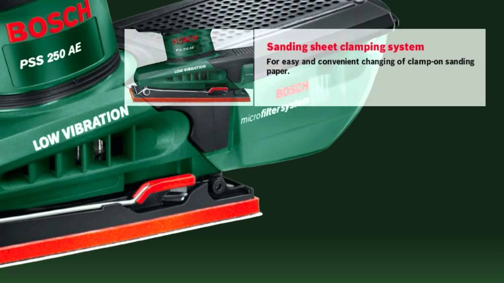 features of the bosch pss 250 ae orbital sander youtube. Black Bedroom Furniture Sets. Home Design Ideas