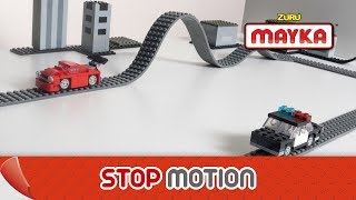 Mayka | Speedy Getaway with Toy Block Tape! | High Speed Car Chase Lego Stop Motion Animation