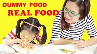 GUMMY FOOD vs REAL FOOD Challenge 😱 Thử thách gummy và đồ ăn ♥ Dâu tây channel