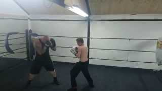 Father and son boxing sparring
