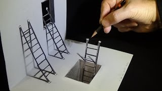 Art 3D Drawing - How to Draw Ladders - Optical Illusion