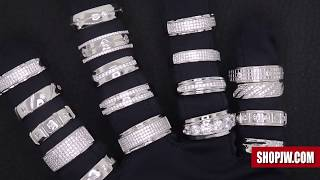 Mens .925 Sterling Silver Simulated Diamond Bands and Rings || Shopjw