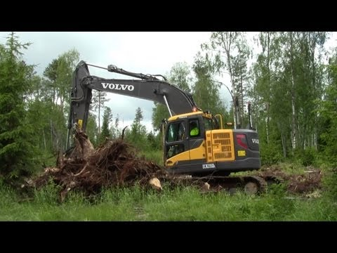 Volvo ECR235DL - Sorting stubs with Engcon Tiltrotator EC226
