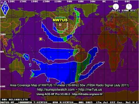 Animated Shortwave Coverage Maps for July 2011 for weak signal JT65A transmissions