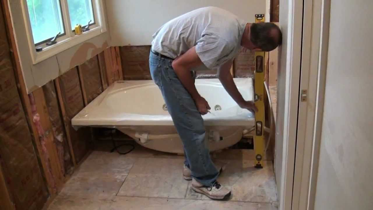 Installing a whirlpool jet tub part 1 youtube - Installing tile around bathtub ...