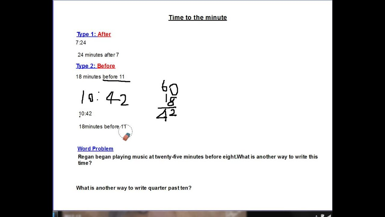 3rd grade common core math time to the minute youtube