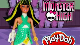 Play Doh craft dress up Barbie like Monster High Cleo de nile. HD play doh barbie