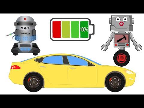 Автомеханик Роби и его новый помощник Робот Тесла ремонтируют электромобиль