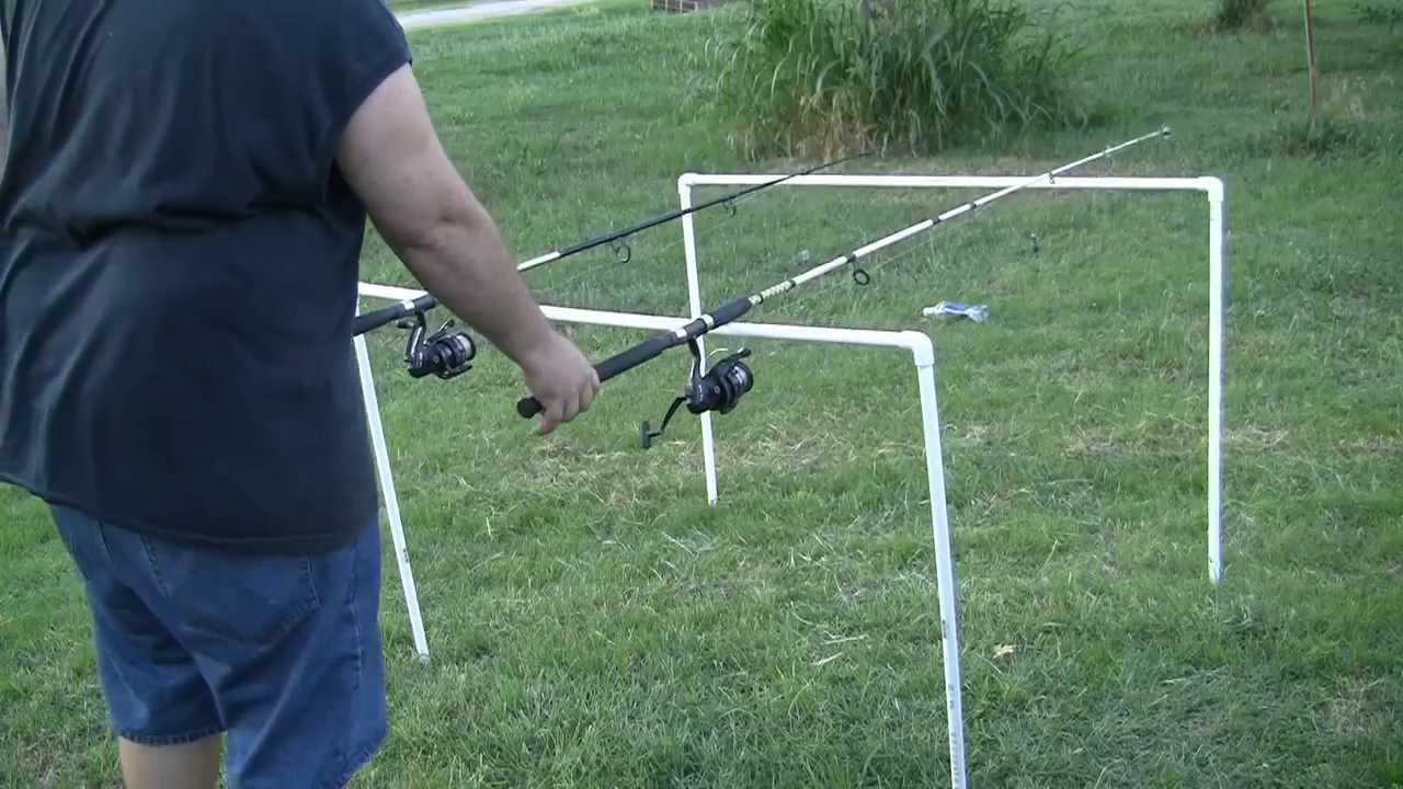 How to make a cheap catfish fishing rod holder out of pvc for Cat fishing pole
