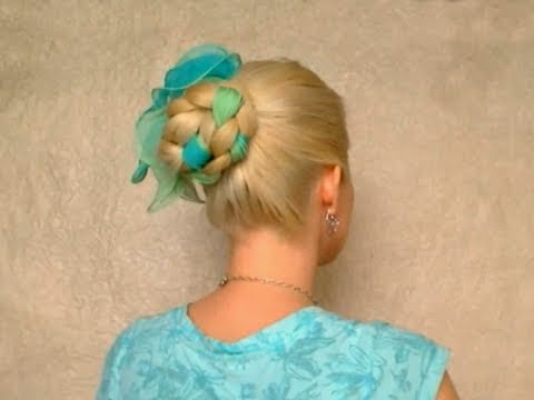 Romantic braided hairstyles for long straight hair tutorial Cute easy elegant scarf updo 2011