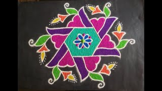 Simple Rangoli Design with Beautiful Colours & Dots 11x6 For Festivals & Competitions | Easy Kolam