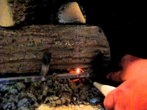 pilot lighting for gas logs - YouTube