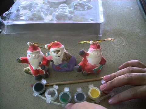 DIY Paint your Santa Porcelain Gift Ideas or Christmas Tree Ornaments