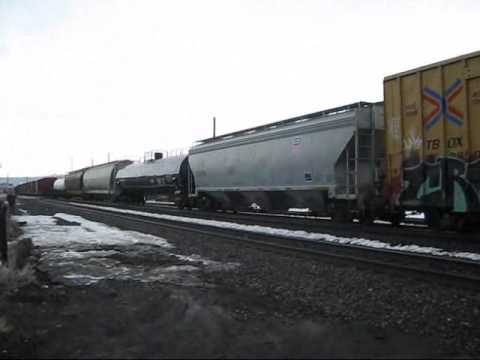 Westbound Union Pacific manifest with DPUs passing Truckee, CA