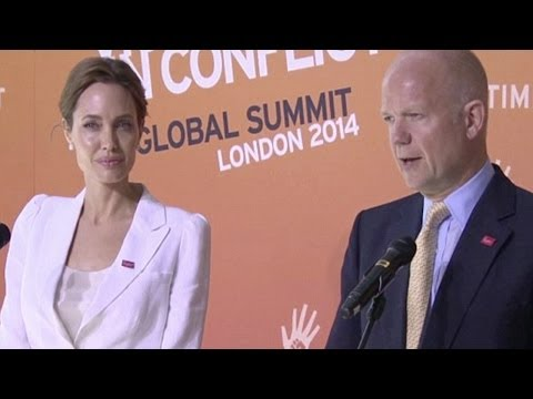 Angelina Jolie & William Hague at Sexual Violence Summit - (...