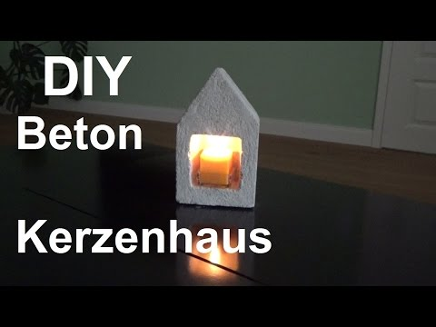 DIY Kerzenhaus aus Beton basteln selber machen Kerzenhalter aus Beton gießen Betonhaus shabby chic