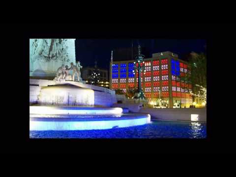 Indianapolis Indiana Soldiers and Sailor's Monument at Night Video