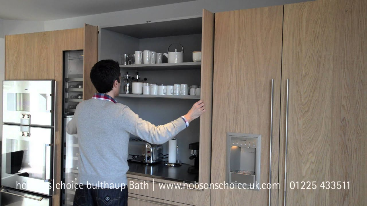 Bulthaup b3 kitchen pocket door youtube - Retractable kitchen cabinet doors ...