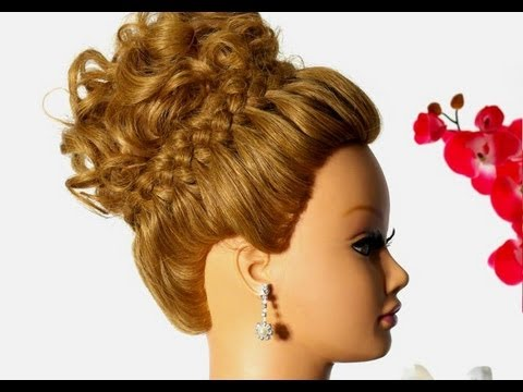 Wedding prom hairstyle for long hair. Braided updo - YouTube