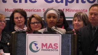 Rep. Ilhan Omar speaks at the Muslim American Society Rally