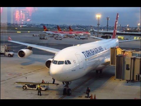 Turkish Airlines A340-300 takeoff @ São Paulo Guarulhos + Lufthansa Boeing 747-8