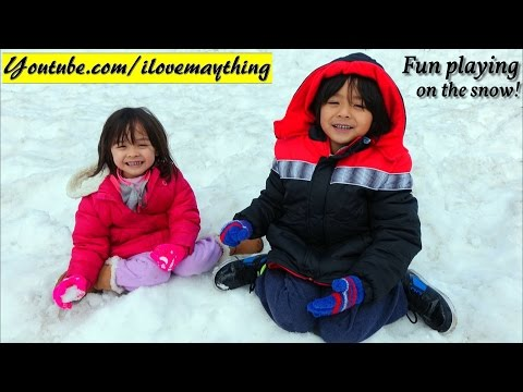 Fun Family Adventures: Hulyan and Maya's Winter Snow Playtime! Snow Sleds, Snow Man, Etc...