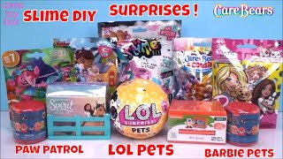 Slime Surprise Toys LOL Pets Paw Patrol Mashems Care Bears Trolls Barbie Blind Bags Opening Fun