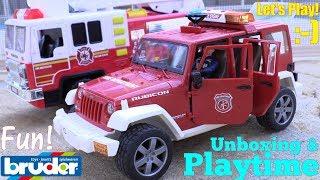Children's TOYS! Fire Truck Toys for Kids. BRUDER Toy Trucks. A Jeep Wrangler Firefighter Car