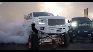 Big SEMA trucks burning out! Video is full of burnouts resulting to a blown differentials!