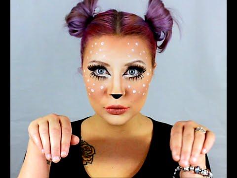 cute deer makeup tutorial and easy false eyelash