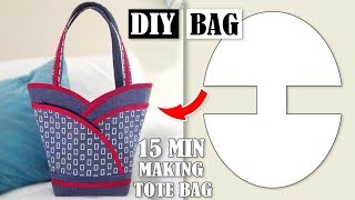 DIY MOST POPULAR DESIGN HANDBAG TUTORIAL // Tote Bag In 10 Min Sewing Easy Step by Step