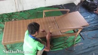 Sản xuất ghế hồ bơi nhựa giả mây với khung sắt sơn tĩnh điện đan sợi mây nhựa kháng uv