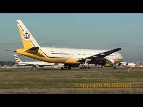 Triple '7 Heaven - Jet Airways and Royal Brunei depart Heathrow Airport together