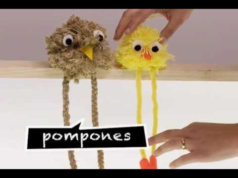 C mo hacer mu ecos de pompones youtube - Como hacer pompones con lana ...