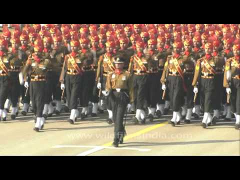 Para Military forces marching on at the Republic Day Parade in Rajghat, Delhi