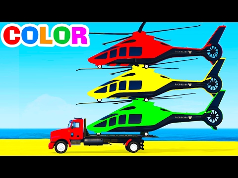 FUN HELICOPTER on Truck & Cars Spiderman Cartoon for Children & Colors for Kids w Nursery Rhymes