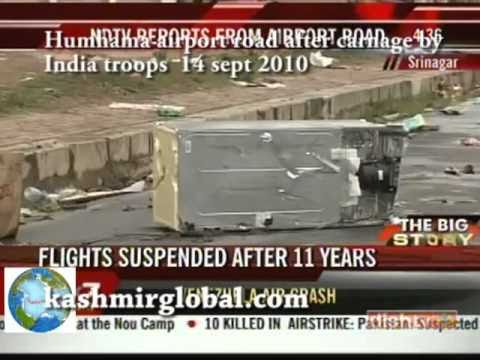 Humhama Airport road Srinagar Kashmir after carnage by India troops 14 sept