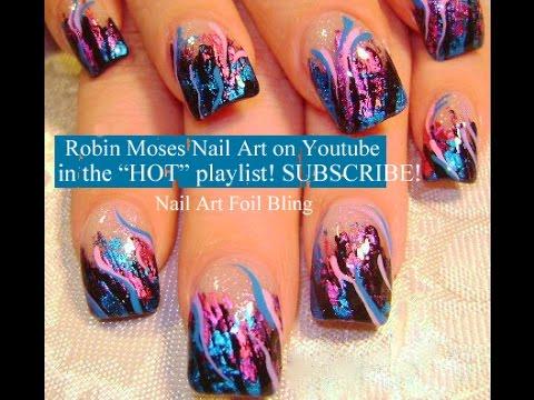 Nail Art Tutorial   DIY Pink and Blue Foil on Black Tips   Diva Bling Design