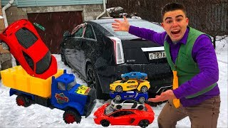 Mr. Joe found A LOT OF Toy Cars Lamborghini & Honda VS Ferrari under Christmas Tree for Kids
