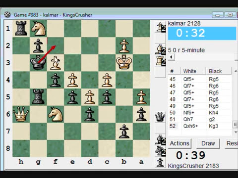 Chess World.net: Blitz #102 vs. kalmar (2128) - Old Indian defense - Protected passed pawn