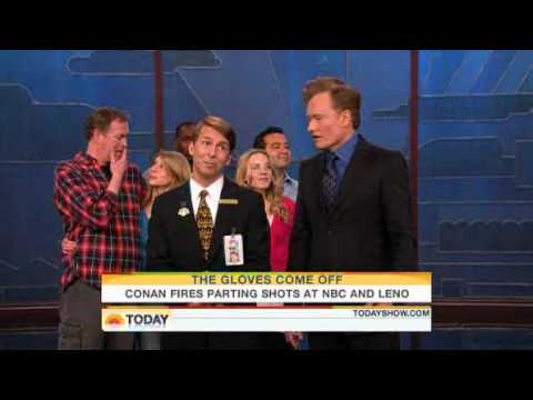 Conan O'Brien sticks it up to NBC and Jay Leno Video