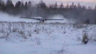 Turbo Otter Takeoff on Wheels from Snow