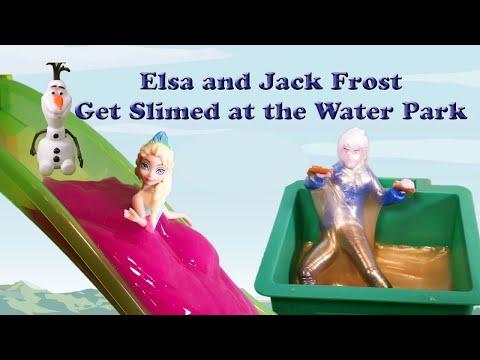 FROZEN Disney Queen Elsa and Jack Frost Get Slimed at the Water Park a Disney Frozen Video Parody