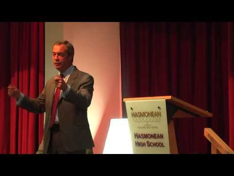UKIP Leader Nigel Farage Speaks at Jewish Chronicle event at Hasmonean School Hendon 10 July 2013 http://www.thejc.com/news/uk-news/109229/farage-set-debate-...