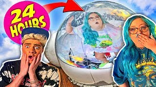 24 Hours Overnight Inside A GIANT BUBBLE House!!