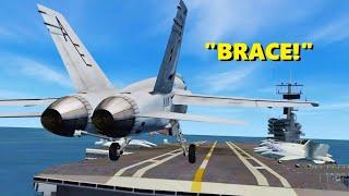 """BRACE!"" Landing on a CARRIER in Flight Simulator X (Multiplayer)"