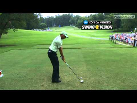 In the third round of the 2012 Wyndham Championship, we take a closer look at Sergio Garcia&#039;s swing off the tee on the 36 yard, par-5 8th hole.